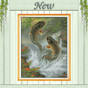 Image 1 - Carp leap animal fish Paintings home Decor Counted Print on canvas DMC 14CT 11CT DIY Cross Stitch Needlework Kit Embroidery Sets