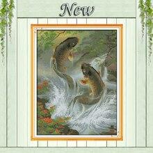 Karpfen leap tier fisch Gemälde wohnkultur Gezählt Druck auf leinwand DMC 14CT 11CT DIY Kreuz Stich Hand Kit Stickerei sets