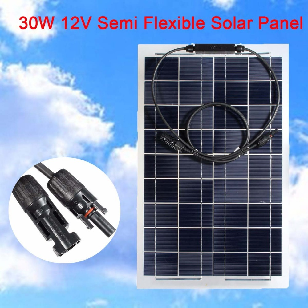 KINCO Light Portable 30W 12V Monocrystalline Semi-Flexible Solar Panel DIY Solar System Battery For Car Battery Phone Charger sp 36 120w 12v semi flexible monocrystalline solar panel waterproof high conversion efficiency for rv boat car 1 5m cable
