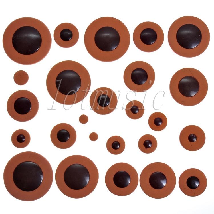 1set Deluxe Orange Alto Saxophone Woodwind 25pcs Leather Pads Replacement Parts Size
