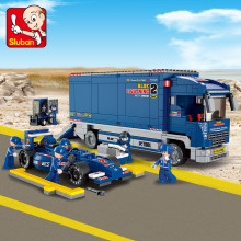 641Pcs City Truck F1 Racing Car Building Blocks Bricks Brinquedos Educational Toys for Children