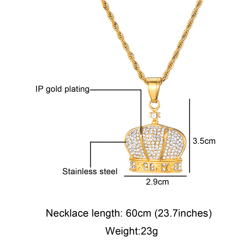 HIP Hop 316L Stainless Steel Full Rhinestone Bling Iced Out King Crown Necklace Necklaces Pendants for Men Jewelry in Pendant Necklaces from Jewelry Accessories