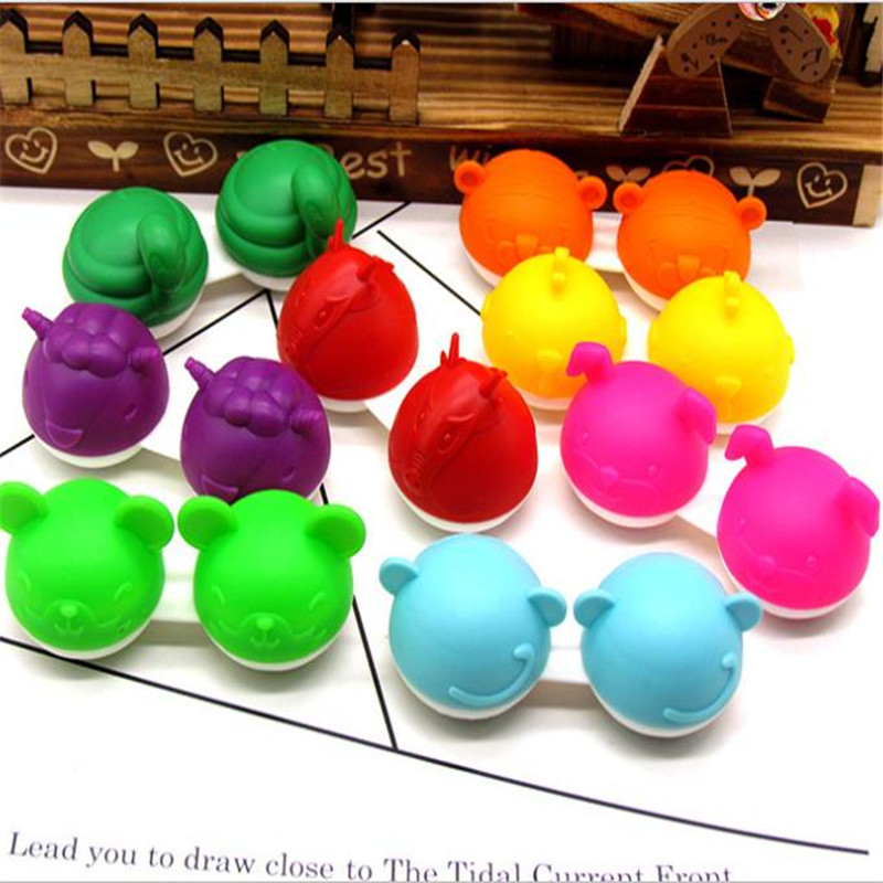 Cute 12 Chinese Zodiac Signs Pig Snake Goat  Dragon Animals Portable Contact Lens Case Travel Lenses Box Container