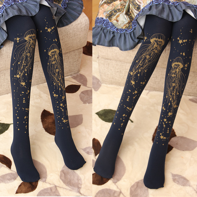 Hot stamping <font><b>lolita</b></font> female socks, the spring and autumn period and the Japanese xinghai jellyfish <font><b>lolita</b></font> their 100 d velvet image