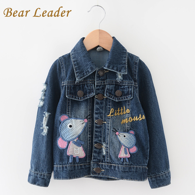 Bear Leader Girls Cowboy Coats 2016 Children Clothing Outerwear&Coats for Kids Clothes Long Sleeve Cartoon Embroidery Jackets
