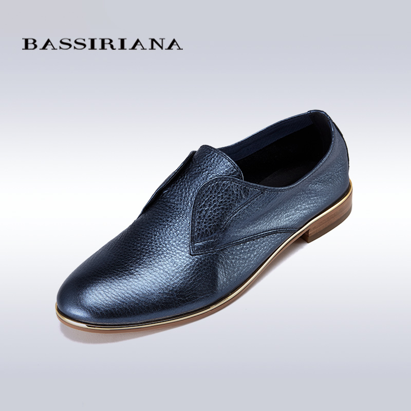 ФОТО Flats shoes woman 2017 Genuine leather Solid Blue Silver women shoes for Spring Autumn Slip-On Basic Free shipping BASSIRIANA