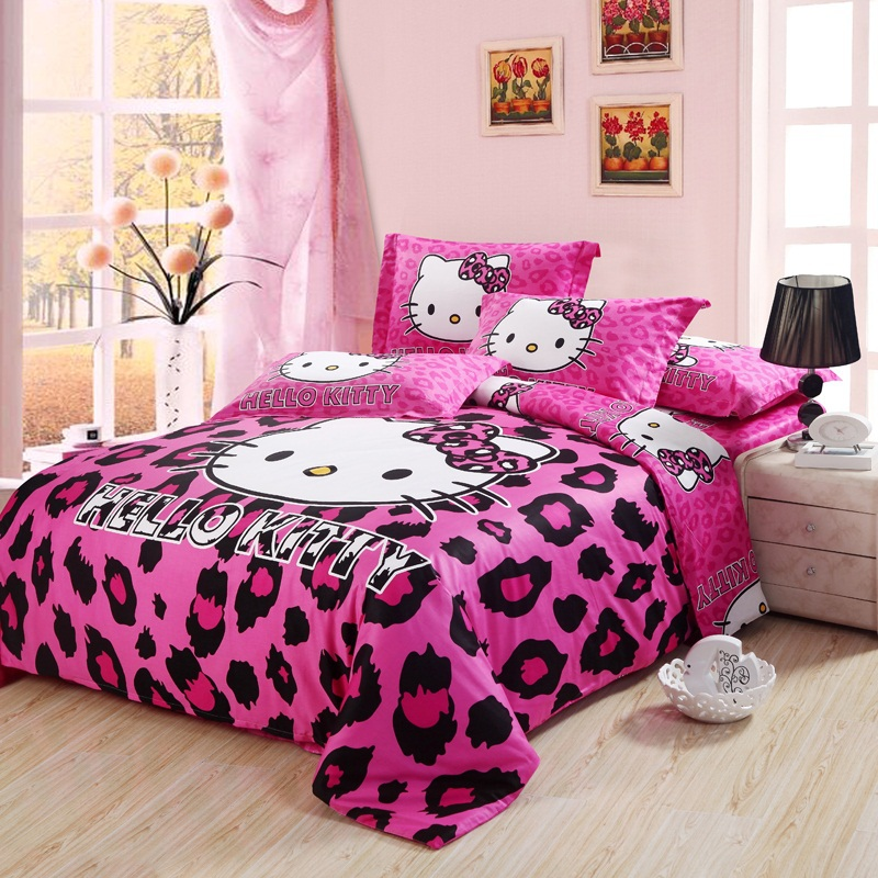 Spcial Deal Leopard Print Hello Kitty 100 Cotton Bedding Set For Girls Kids King Queen Full