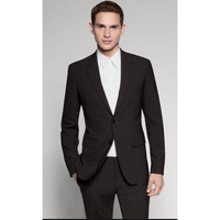 Custom made men's suits terno masculino black two buttons mens classic wedding men suit (jacket+pants+tie+Pocket Square)