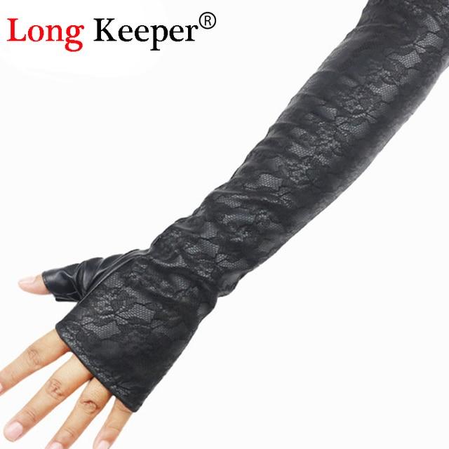 Long keeper retro sexy female lederhandschuhe halbfinger ellenbogen ...