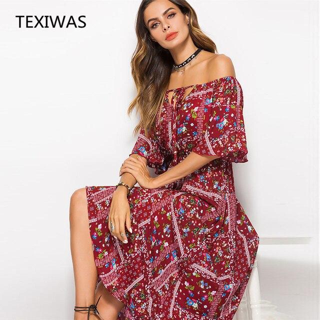 bfaf8f3841 TEXIWAS nowy w stylu Boho długa sukienka kobiety Off ramię plaża letnie sukienki  kwiatowy nadruk w
