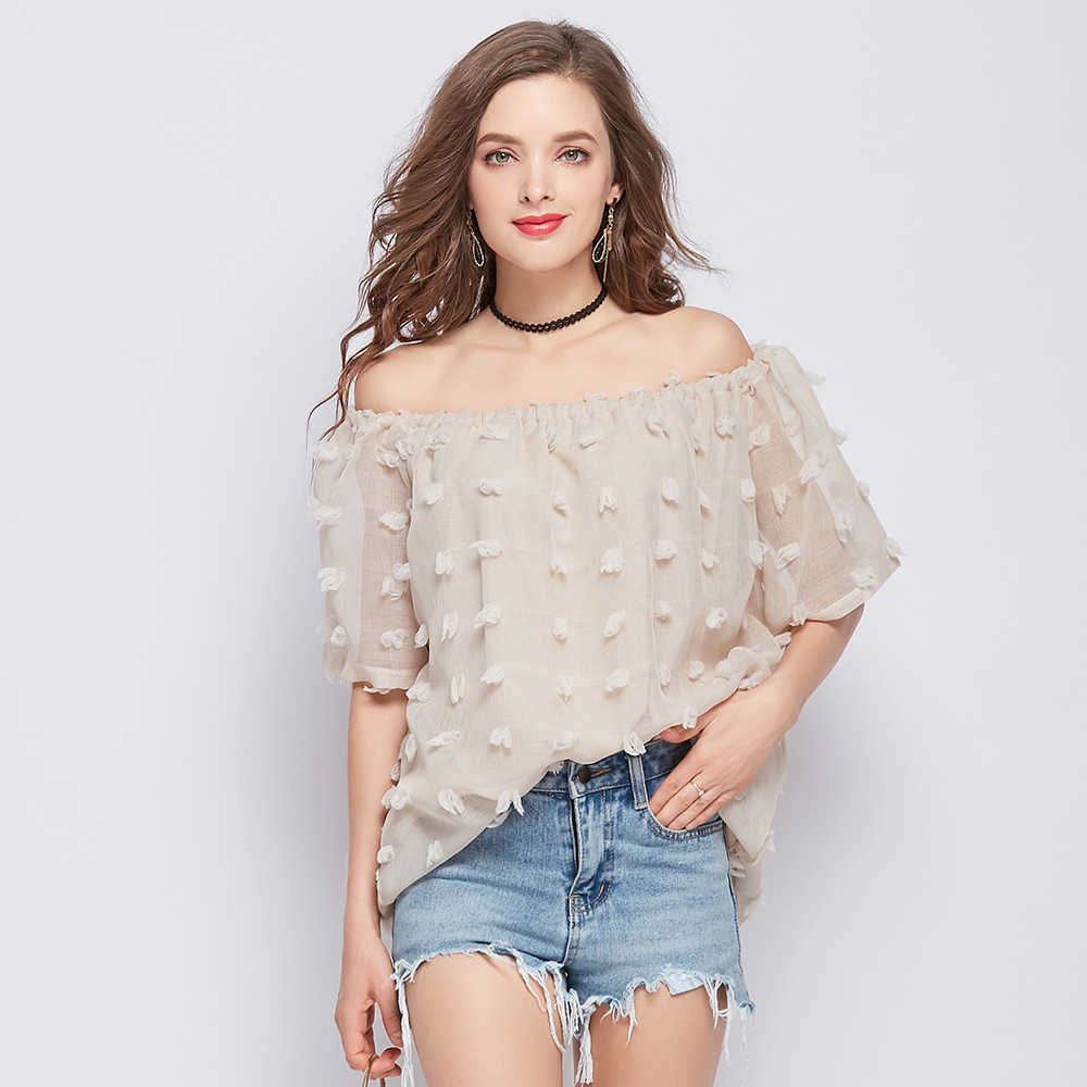 2019 夏セクシーなスラッシュネックの女性の服のファッション半袖紺女性ブラウスシャツ甘い女性のトップス blusas D734 30
