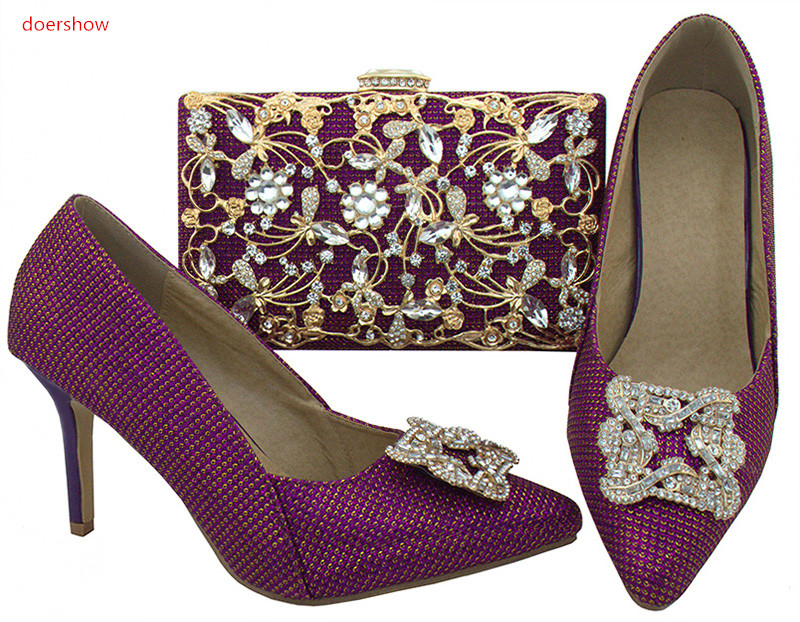 doershow African purple Shoes and Bag To Match High Quality Italian Shoe and Bag Set Nigerian Party Shoe and Bag Set WR1-21 doershow italian shoe with matching bag fashion lattice pattern italy shoe and bag to match african women shoes party hjj1 34