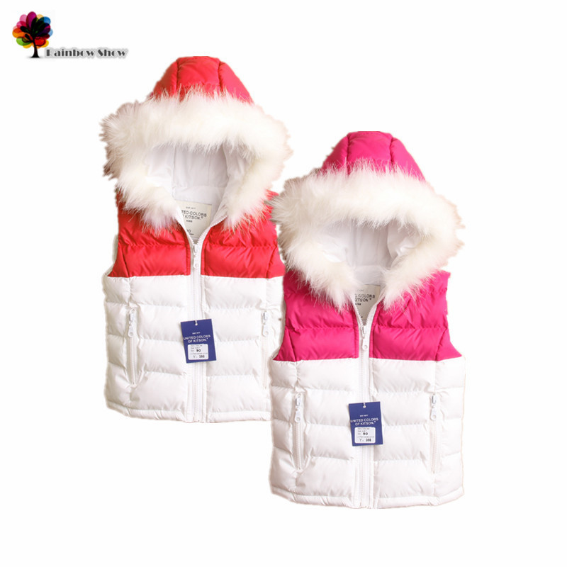 Nieuwe kwaliteit Kinderkleding Winter Meisjes Hooded Fauxl Bontkraag - Kinderkleding
