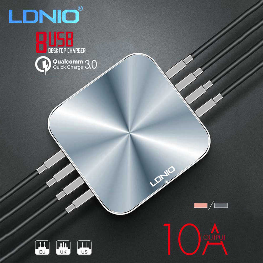 LDNIO 8 USB Port Desktop Charger For Mobile Phone Quick Charge 3.0 5V/10A Smart Office Charger Adapter EU US UK Plug Power Cable