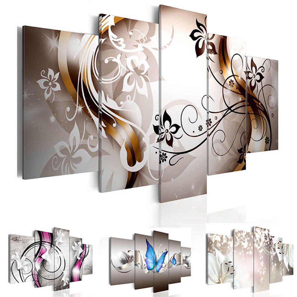 Nordic Prints Wall Art HD Poster Abstract 5 Pieces Plant Orchid Canvas Painting Modular Pictures Frame Home Office Decoration