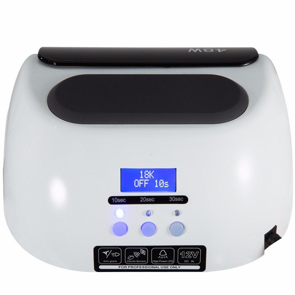 18 K 48 W memoria inteligente UV lámpara LED secador de uñas con Sensor automático pantalla LCD lámpara híbrida