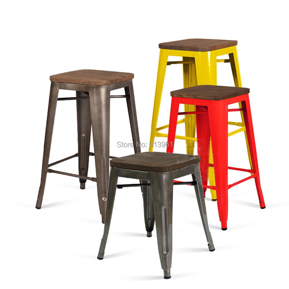 french industrial stool designer vintage bar stool loft style chair with elm wood surface metal cheap loft furniture