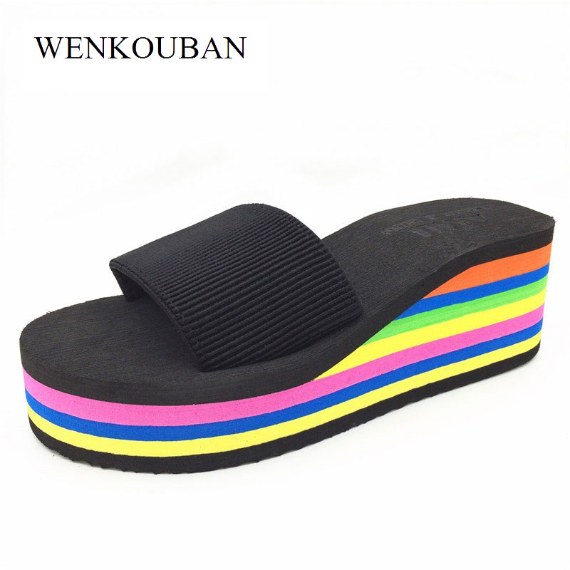 Mules Shoes Women Platform Slippers Summer Wedges Rainbow Shoes Ladies Beach Slippers Flip Flops Casual Slides Zapatos Mujer halluci breathable sweet cotton candy color home slippers women shoes princess pink slides flip flops mules bedroom slippers