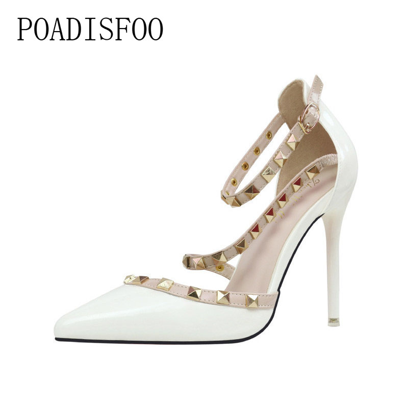 цена на POADISFOO 2018 New Women's Sexy Pumps nightclubs high-heeled shallow mouth pointed rivets Ankle Strap High Heel Shoes .ZWM-1138