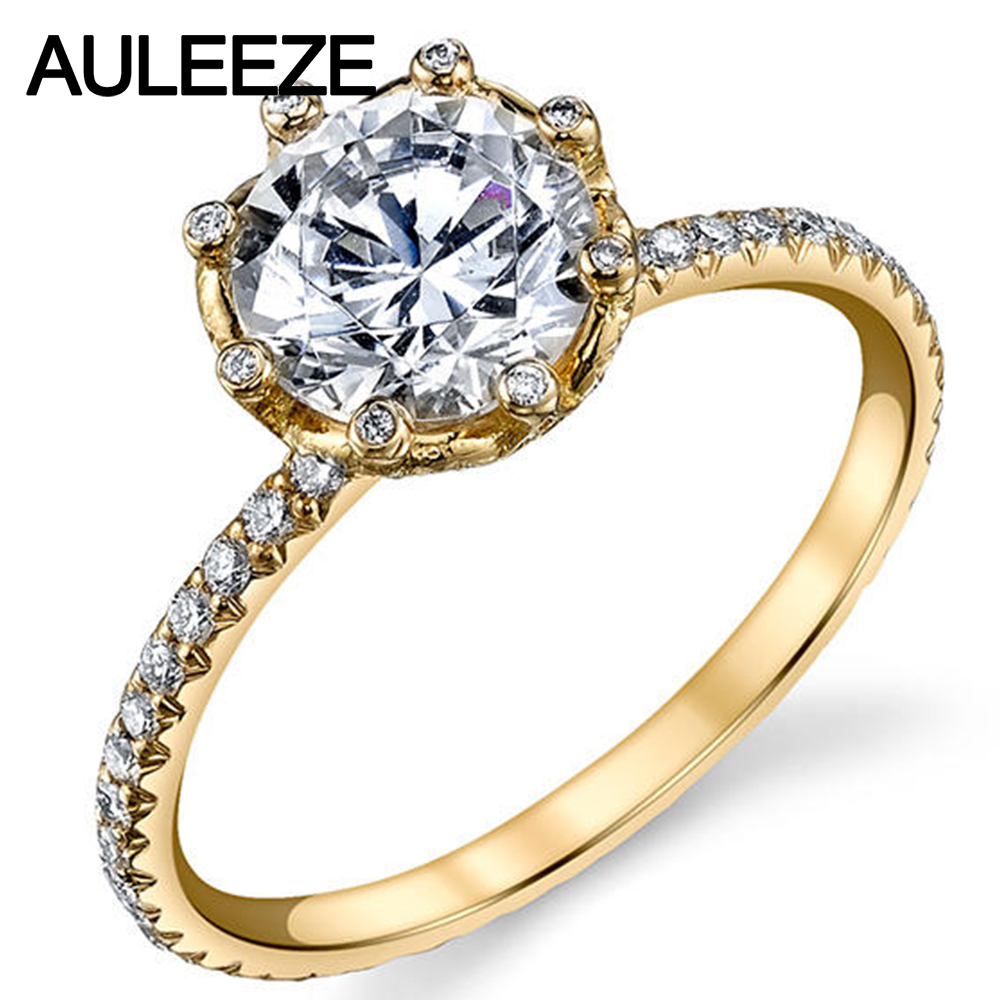 Unique Flower 2ct Moissanites 14k Yellow Gold Ring Classic Cathedral Lab  Grown Diamond Rings For Women