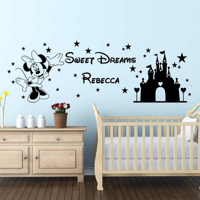 Mickey Mouse Wall Decal Personalised name Princess Kid\'s Sticker Art ...