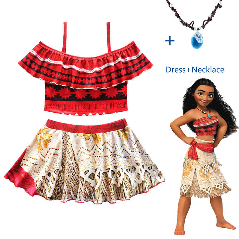 1b7d1efd29 Vaiana Moana Costume Princess dress Cosplay for Children dress Costume with  Necklace for Halloween Costumes for