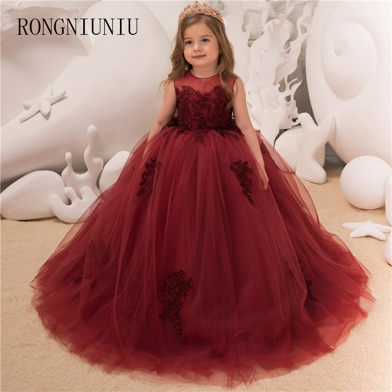 2019 New Flower Girls For Party And Wedding Burgundy Floor Length Ball Gown First Communion Dress Princess Girl Dress