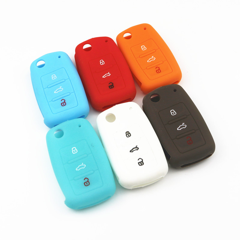 Hot silicone car key cover case shell fob for VW Golf Bora Jetta POLO GOLF Passat For Skoda Octavia A5 Fabia For SEAT Ibiza Leon эмблема для авто vw original oem vw skoda skoda fabia octavia roomster
