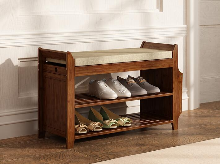 Natural Bamboo Shoe Rack Entryway Shoe Storage Household Shelf Shoe Bench With Cushion For Bedroom Living Room Storage Organizer