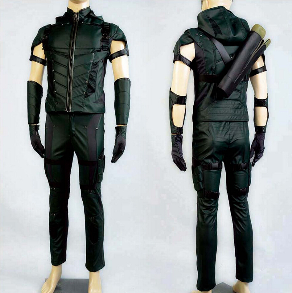 La Freccia Verde Oliver Queen Uniforme per adulti in pelle Top Pantaloni Accessori per uomo Halloween Cosplay Costume Plus Size Nuovo arrivo