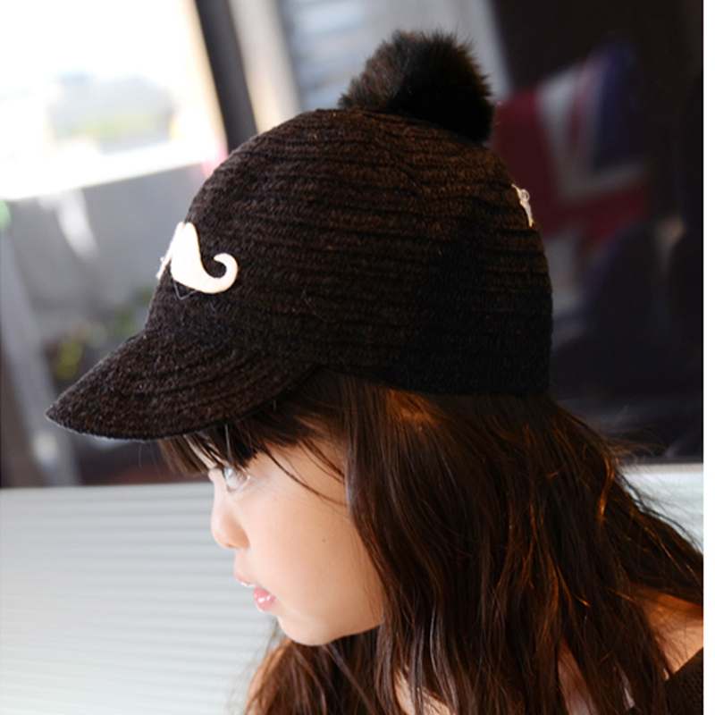 faux fur baseball caps amal clooney hat pom fashion autumn winter knitted kids font cap