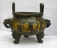christmas decorations for home+ Collectible Old Chinese Bronze Carved Incense Burner Chinese Temple Censer