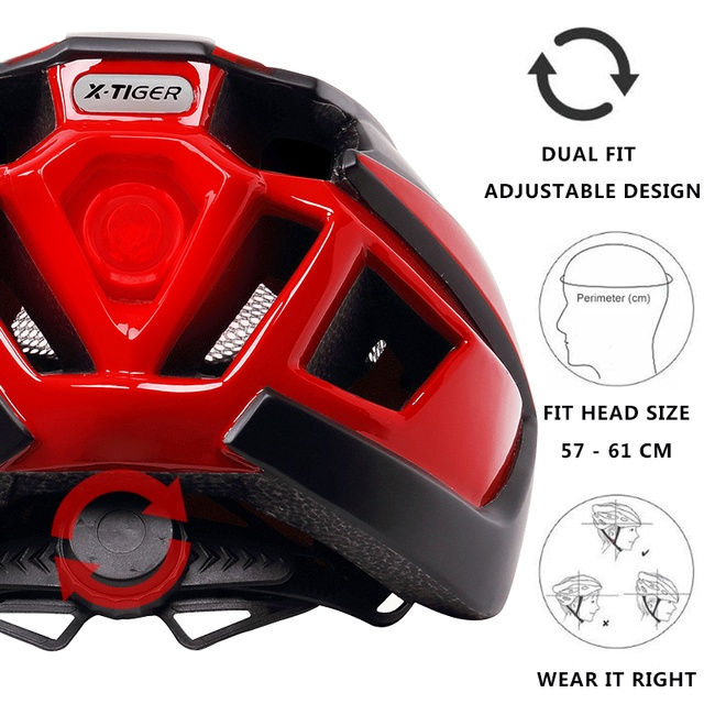 X-tiger luz ciclismo capacete da bicicleta ultraleve capacete intergralmente moldado mountain road bicicleta mtb capacete seguro das mulheres dos homens 1