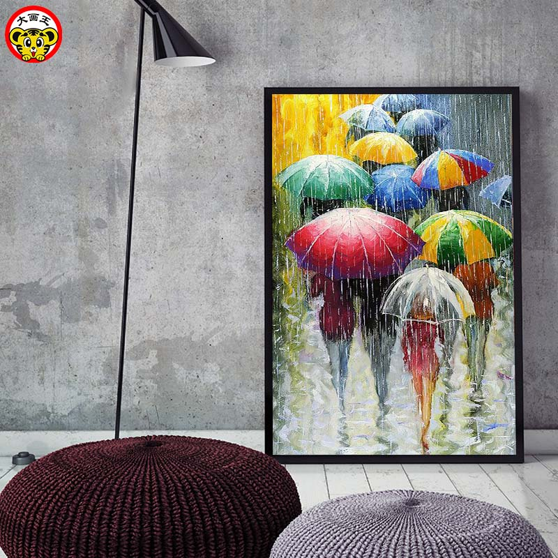 Painting By Numbers Art Paint By Number DIY   Landscape Rainy Day Rain Umbrella Umbrella Decompression Painting Living Room