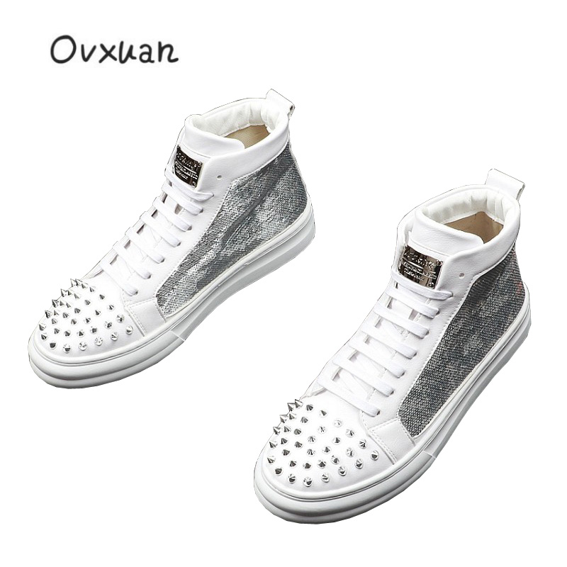 2019 Shine Sequin Metal Sheets Rivets Men High Top Shoes Hip Hop Sneakers Casual Flats Luxury