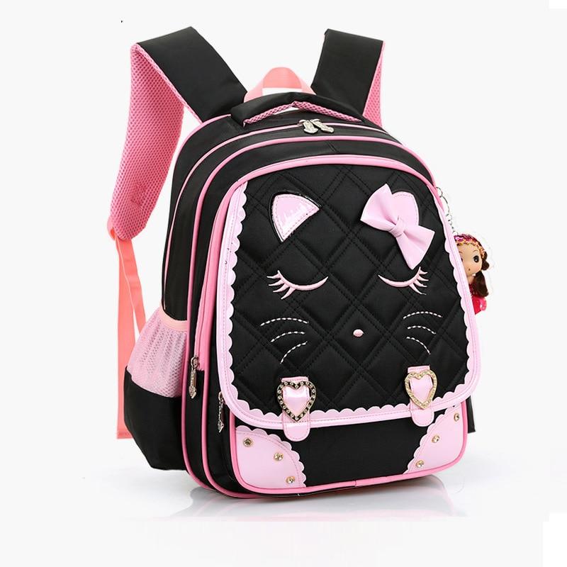 ФОТО Children backpacks waterproof girl orthopedic school bag cartoon Kids School Bags Printing Backpacks Bow Book Bag Nylon Mochilas