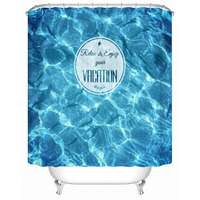 New arrival Blue Sea Shower Curtain Personalized Living Room Curtains Waterproof Bathroom Shower Screens Window Screen Cortina