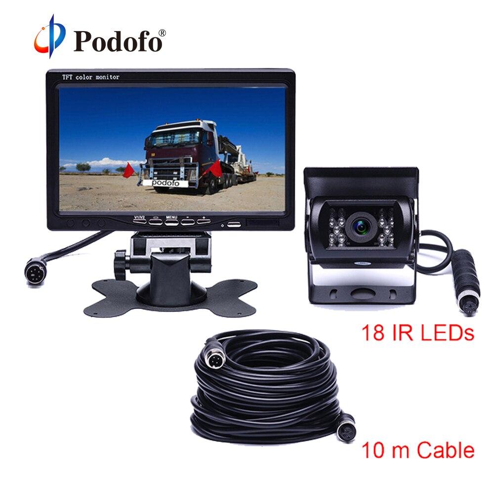 Podofo DC 12 В -В 24 в 7 TFT ЖК-дисплей автомобиля монитор дисплей + 4 Pin IR ночного видения камера заднего вида для автобуса грузовик RV Caravan прицепы