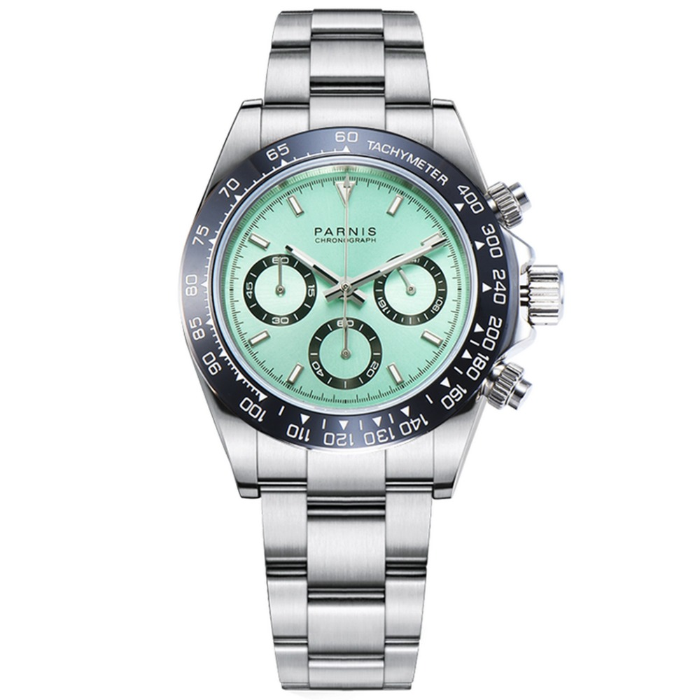 Parnis Commender Seriers lumineux hommes en acier inoxydable bracelet de montre militaire Sport chronographe montre à Quartz montres