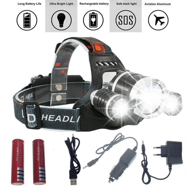 13000Lm T6+2*R5 XML T6 LED Headlight Headlamp Head Lamp Light 4-mode +2x18650 battery+EU/US Car charger fishing Lights