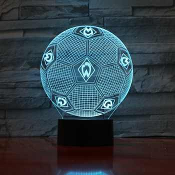 7 Colors Changing 3D Illusion Lamp Soccer Night Lights 3D Desk Light Luminaria Table Football Lamp for Fan\'s Gift 3D-888