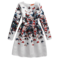 2017 Autumn Winter Teenager Girls Dresses for Girls Kids Butterfly Print Dress Long Sleeve Casual Vintage Children Party Clothes