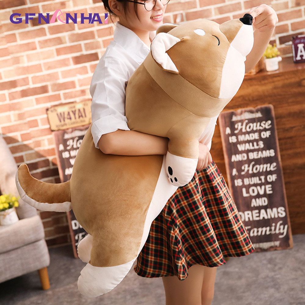 1pc 80/100cm Giant Size Lying Shiba Inu Dog Plush Pillow Stuffed Soft Toys Lovely Animal Dog Dolls Sleeping Pillow Gift Toys