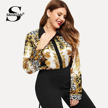 4e5b353b4b55a Sheinside Plus Size Single Breasted Chain Print Shirt Women Blouse OL  Office Ladies Tops Womens Long Sleeve Blouses   Shirts