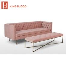 modern  pink velvet fabric 3 seat couch living room sofa set design furniture