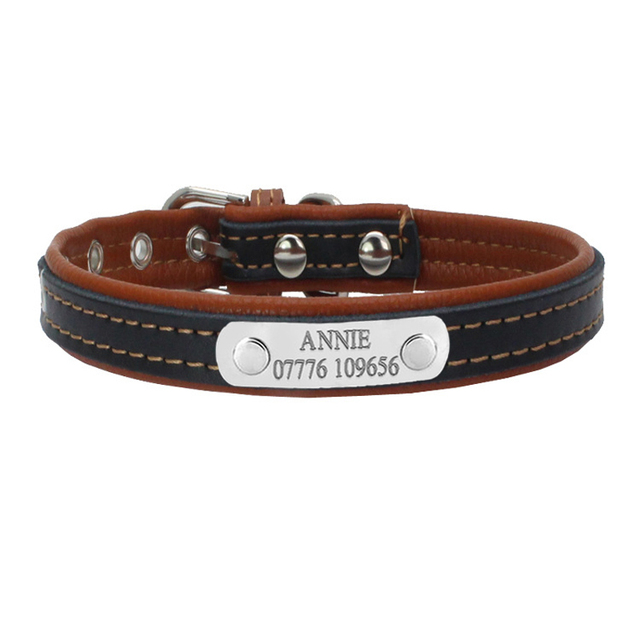 d0670a986f2f Duopi Soft Leather Personalized Solid Dog Collars Custom DIY Cat Puppy Pet  Name ID Collar Free Engraving for Small Medium Dogs