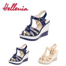Купить с кэшбэком Hellenia New arrival Ladies Shoes Women Sandal Summer Open Toe Navy Beige high Heel Fashion Platform High Heels wedge Sandals