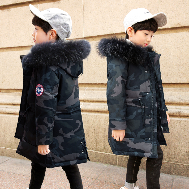 NEW 2018 Russia Winter Boys Down Jacket Boy Warm Thick Duck Down & Parkas Children Casual Fur Hooded Jackets / Coats -35 degrees winter brand 2017 new men down jacket coats long coats dress jackets western style overcoats thick warm duck down parkas