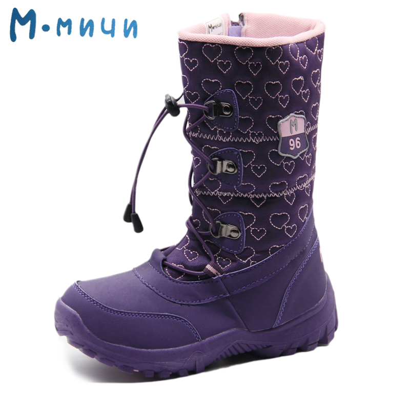 цена на MMNUN Russian Famous Brand Winter Shoes for Girls High Quality Children's Winter Shoes Big Girls Boots Warm Kids Winter Boots