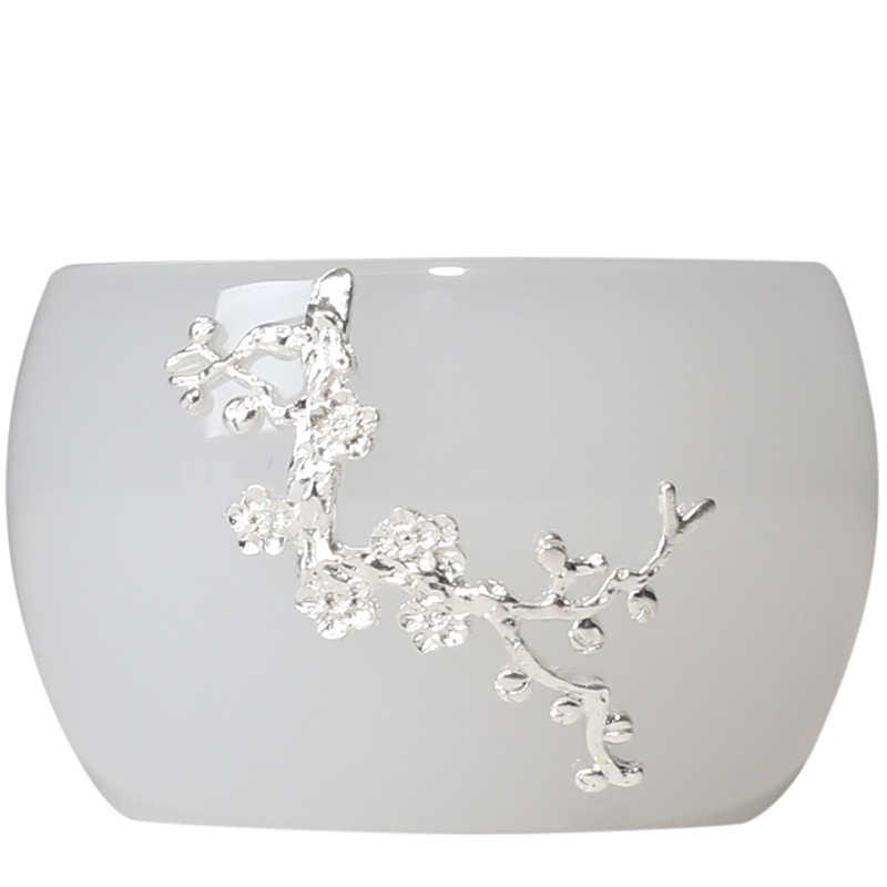 PINNY 45ml หยกจีนเงินถ้วยชาสีขาวแบบดั้งเดิมจีน Drinkware Hand Made Kung Fu ชาถ้วย